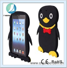 Cartoon penuins silicon animal shape case for ipad