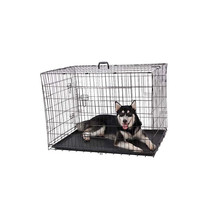 Guaranteed quality black metal dog cage for sale cheap with plate