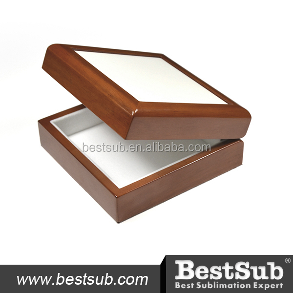 "4""x4"" Sublimation Ceramic tiled Wood Jewelry Box (Brown) SPH44BR"