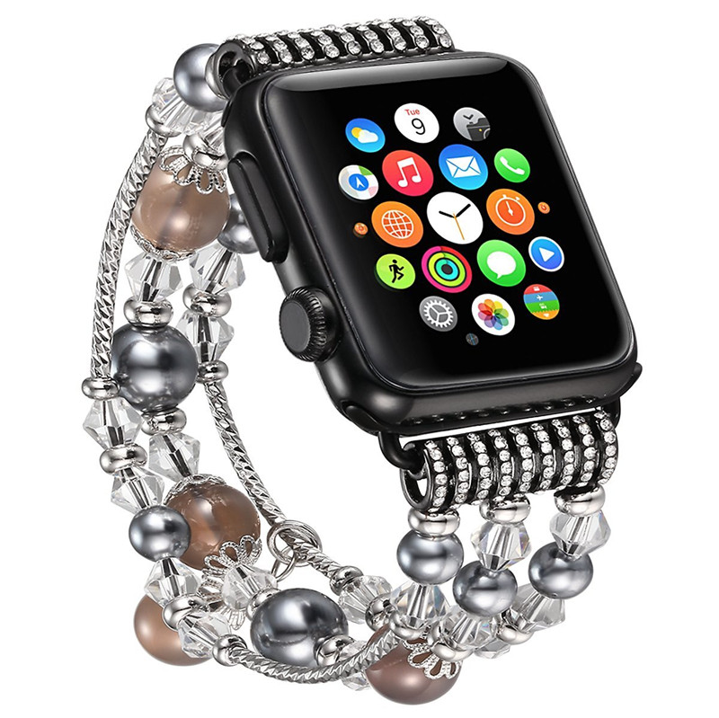 Elastic Hand Ornament Decorated with Faux Pearl Luxury Women Strap Replacement Band for apple watch
