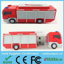 Custom fire truck usb flash drive, promotion 4gb soft pvc usb truck, new custom usb pvc truck usb