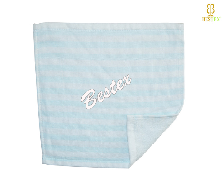 Soft Blue and white stripe Baby Face Bamboo cotton Gauze towel