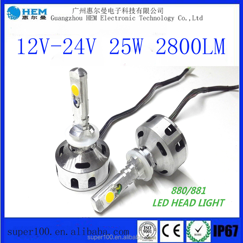 Toyo.tal Hilander High power 12V-24V 25W 2800Lm COB 881 LED Car Headlight wholesale