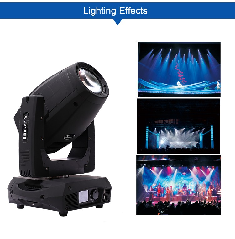 Professional motor screen touch glass gobo led panel lighting led beam 300 17r beam spot wash 3 in 1 350w moving head light