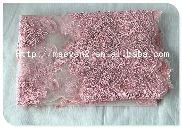 Fashion Pink Floral Embroidered Guipure Lace Fabric 2016 Cord Lace with Stones