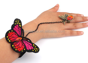fabric embroidered butterfly bracelet with ring
