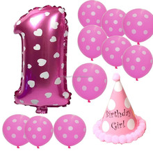 First Birthday Girl Balloons Set Best 1st Party Supplies for Bday Shower Decor