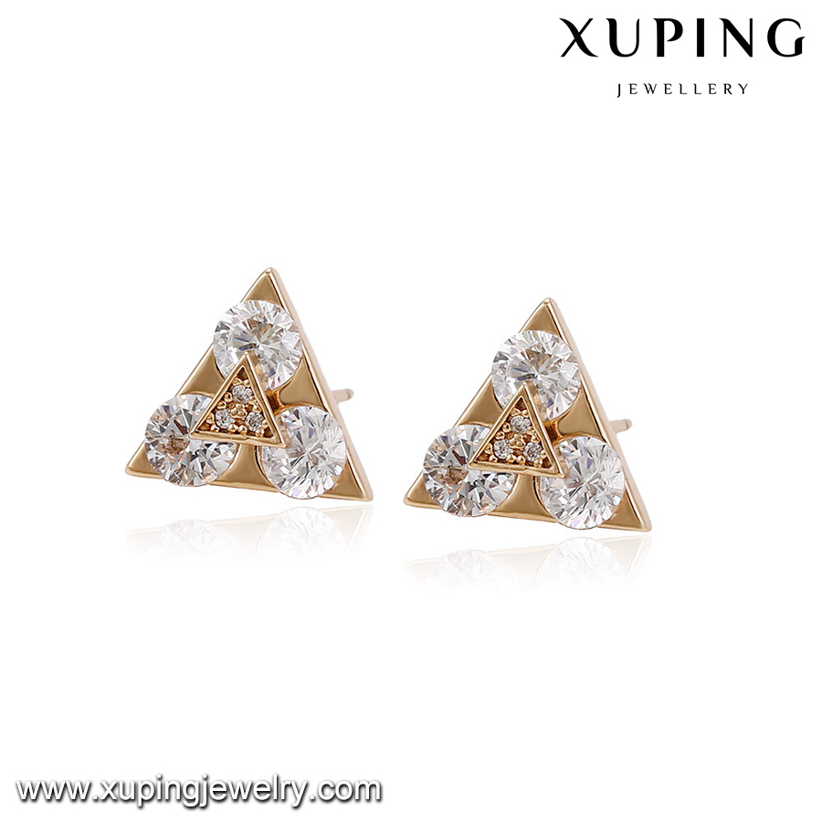 94225 Excellent quality indian gold plated jewelry triangle shape white imitation gemstone women fashion stud earrings