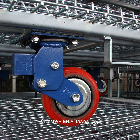 Wire Steel Pallet Container on Wheels Castors
