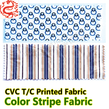 Polyester cotton blend Fabric green and white stripe fabric