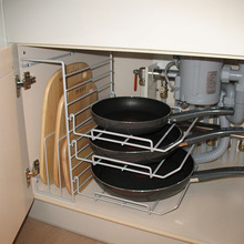 Multi-layer adjustable kitchen pan and chopping block plate rack