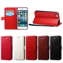 Pure Color Business Style PU Leather Wallet Phone Case for iPhone 7, 5 Colors Available