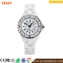 Classic Arabic numerals dial white color girl's ceramic watch with 3ATM waterpoof