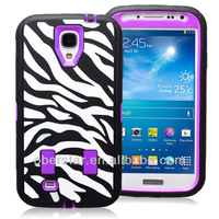 New Hard Case Zebra-stripe 3 in 1 Hybrid Rubber Impact Case Cover For Samsung Galaxy S4