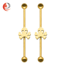 Hot selling stainless steel barbell fake industrial piercing jewelry