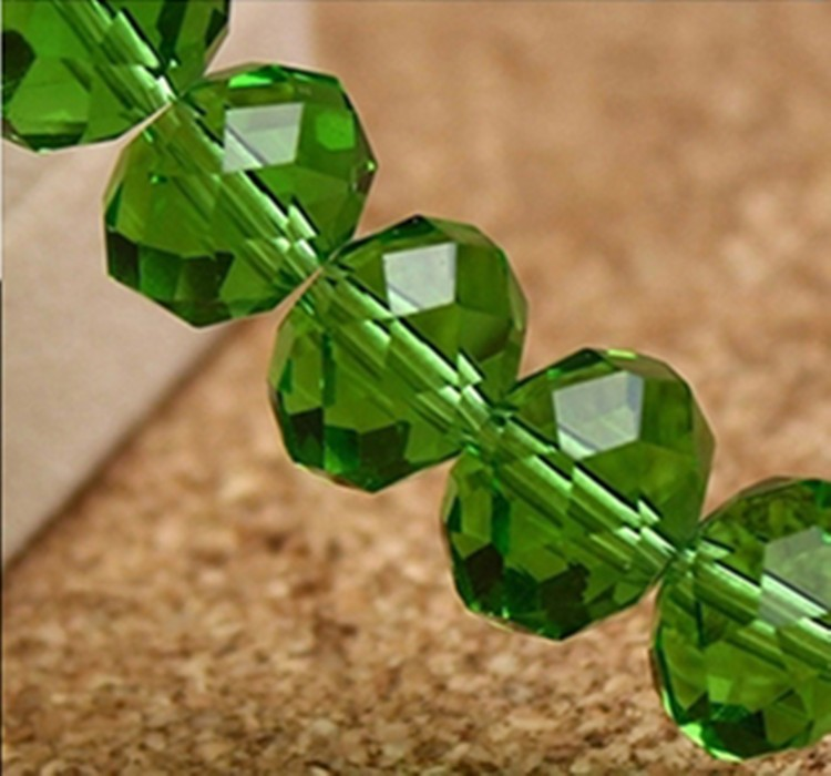 Wholesale Faceted Color Green Glass Bead Strand