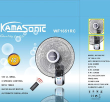 Kamasonic 16inch 3 speed 120oscillation wall fan WITH REMOTE CONTROL