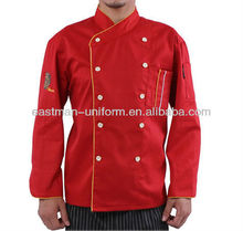 chef uniform cooking wear/red kitchen chef coat jacket/long sleeve unisex chef cooking wear uniform