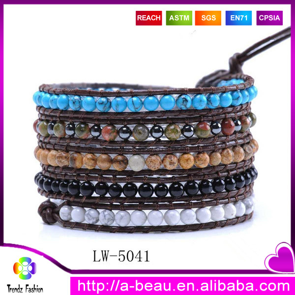Multilayer Natural Semi Precious <strong>Stones</strong> and Agate-Embellished Leather Wrap Bracelet Wholesale