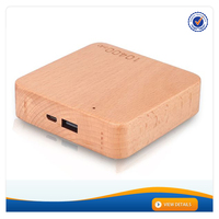 AWC911 Best Portable Wood Charger Portable Polymer Battery 5200mah 7800mah 10400mah Square Wooden Charger Power Bank 10400