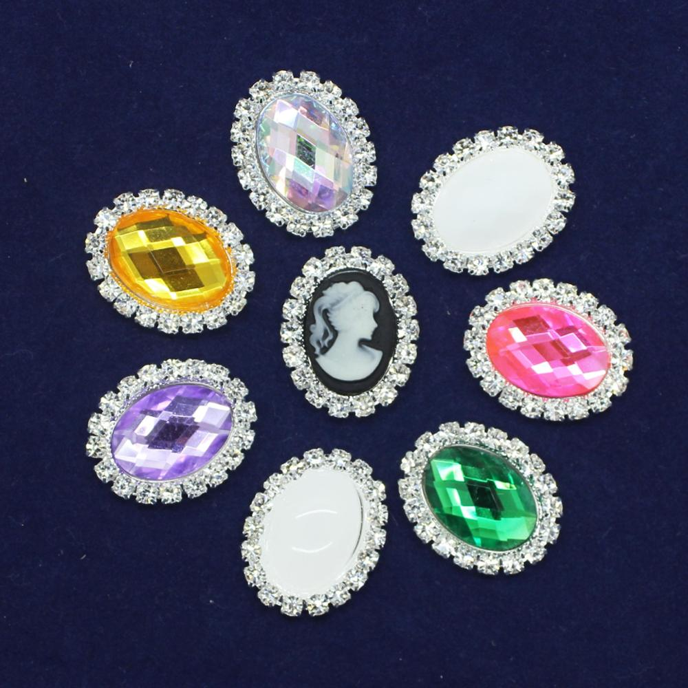 20mm*25mm Oval Flatback Rhinestone Buttons Wedding Invitation Card Dexoration Shiny Buckle <strong>Z10</strong>