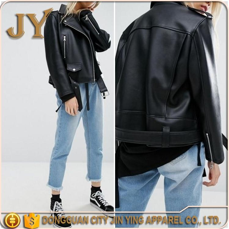 Hot 2017 Women Fashion Vegan Leather Biker Jackets Dongguan Wholesale Clothing Manufacturer JYABC037