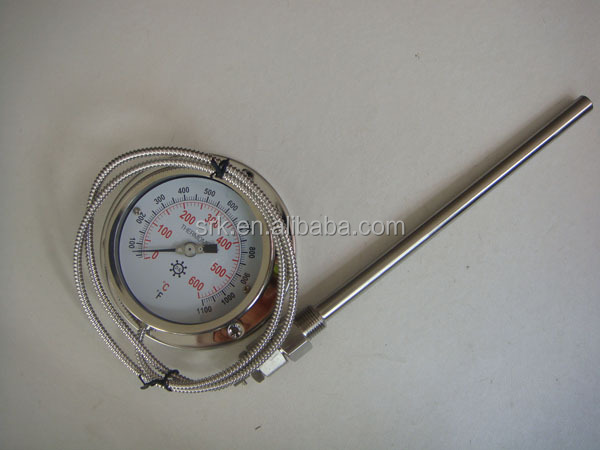 0-600 Degrees Stainless Steel Capillary Thermometer