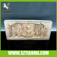 Plexiglass block embed clay sculpture buddhism souvenir