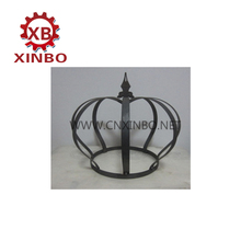 garden ornament metal iron crown sphere with spear parts
