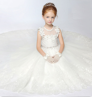 Baby girl wedding dress 2016 new design tulle layered short front & long back flower girl dress wedding dress for baby girl