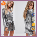 OEM long sleeve shine fabric designer jumpsuits,custom made jumpsuit romper in china