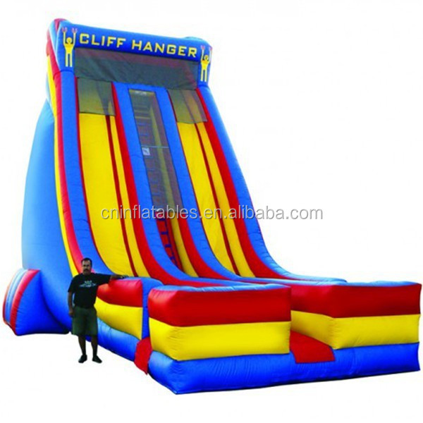 27' dual lane inflatable dry slide/huge CLIFF HANGER inflatable slide
