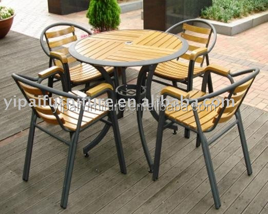 (Burma's wood)aluminum frame dining wooden chairs and tables outdoor chairs