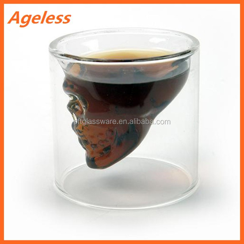Wholesale 2015 skull shaped double wall shot glass cup
