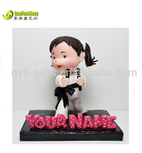 Polyresin karate girl figurines home deocration toys