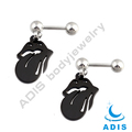 stainless steel ear tragus piercing anodized black sexy tongue figure