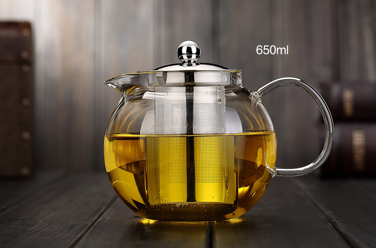 450ml Borosilicate Tube 3.3 Glass Teapot grace tea ware With Stainless Steel Infuser