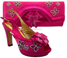2017 New Fashion Italian Style Shoes And Bags Set For Evening Party African Rhinestones Women Shoes And Bag Set For Party MM1031