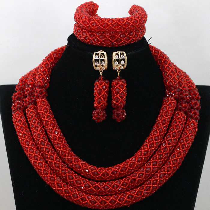 2016 fashion red crystal beads necklace set for women nigerian wedding beaded jewelry set GWH10020
