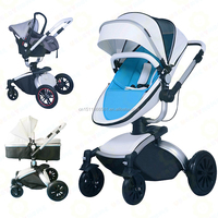 2016 Fashion leather luxury 3 in 1 baby stroller/baby pram/baby pushchair