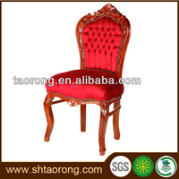 Factory direct European style carved wooden antique red chair