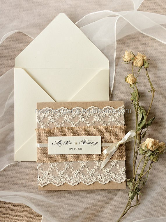 chic burlap lace wedding invitation card for 2015 pocket fold invitations