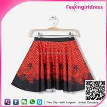 Latest Design custom print red black plaid skirt