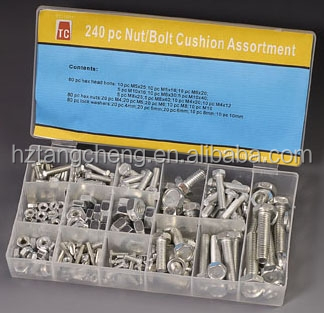 Box Packed TC-1021 Fastener 240pc Zinc Metric Nut & Bolt Assortment