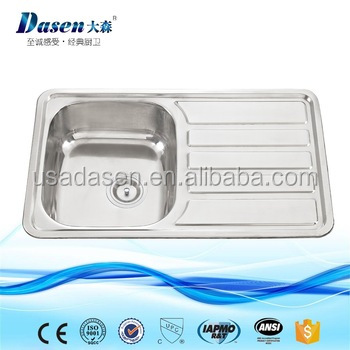 DS7848 foshan sanitary ware franke single bowl stainless steel kitchen sink with drainboard