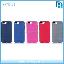 For iPhone 7 Jean Phone Case Candy Color Jean Cloth Soft Rubber Demin Case