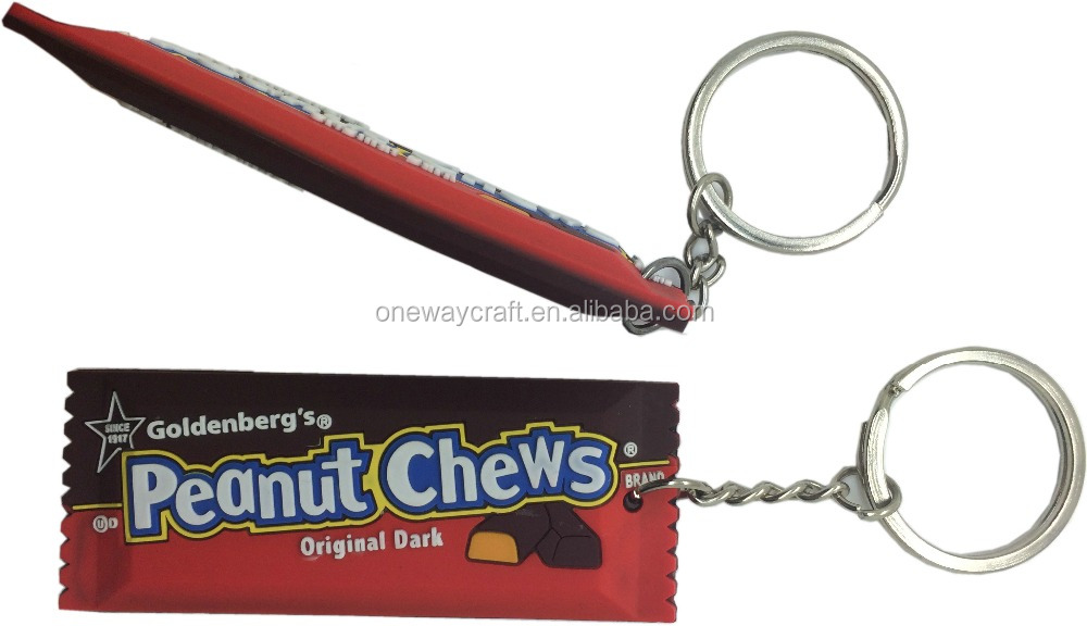two-sided chocolate shape PVC keychain custom promotion gifts