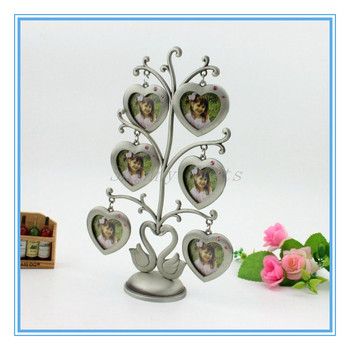 6pcs heart shape design family tree metal photo frame ornaments metal photo album