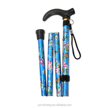 Blue Purple Red Travel Folding Fashion Flower print Woman walking stick