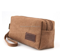 Wholesale top quality popular canvas make-up bag cosmetic case zipper pouch